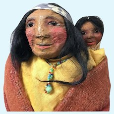 ORIGINAL Mary Francis Woods Indian Woman with Child; Mint Condition Dated Approximately 1915