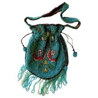 Victorian Glass Bead French Small Purse: Fully Beaded on Both Sides with a Pull Thread and Snap Closure; Silk Twill Lining