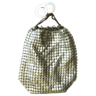 Silver Mesh Art Deco Finger Purse; Silk Twill Lining with Chain Link Pull Closure and Silver Finger Rings