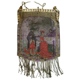 Large Two-Side Figurative Mini-Mini All Over Beaded French Victorian Bag Purse with Mini-Mini Beaded Fringe: Gold Frame and Chain and Flowered Silk Twill Tagged Lining
