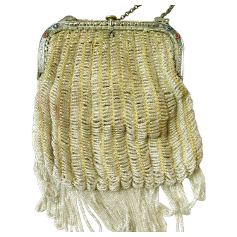 Yellow Knit Clear Loop-Beaded Victorian French Purse with Faux Jewel Accents: Calf Leather Lining with Decorative Silk Flower Attachments at the Edges