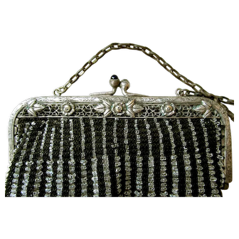 Black Knit Clear Loop-Beaded Victorian French Purse with Faux Jewel Accents: Silk Satin Lining with Decorative Silk Flower Attachments at the Edges