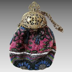 Victorian Marked Germany, Small, Rounded Cut and Etched Brass Top, Purse, with Two Sided Fully Beaded and Fully Lined Body.