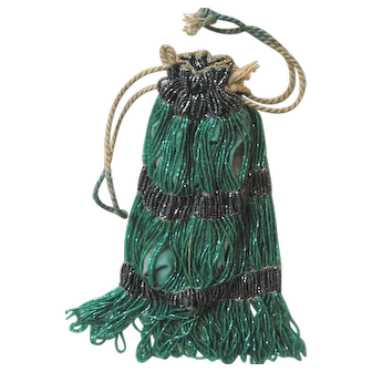 Victorian Emerald Green and Black Striped Purse - Gathered Rope Closure with Cotton Lining