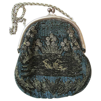 Child's Edwardian Mini Mini Beaded Black Velvet Purse with Silver Chain and Silver Edge Push Open Top