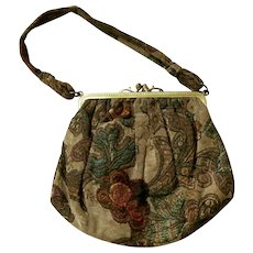 Smaller SILK Brocade Edwardian Purse with Silk Embroidery and Gold Metal Closures; Silk Lining with Attached COIN PURSE