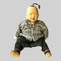 Early 1950's Chinese Child Cloth and Pottery Doll; Provenance After WWII