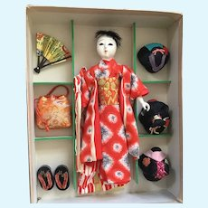 Japanese 6 LADY ACCESSORIES DOLL in Original BOX with Wigs; Vintage Mint Condition