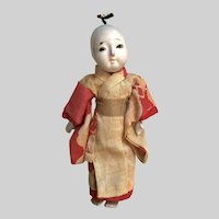 Japanese Antique Gofun Dome Head Mini Doll: Hand Sewn Linen Kimono