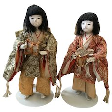 2 Japanese GOFUN Documented Drummers with Pale Green and Pale Gold and Orange Clothing
