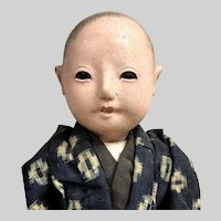 SQUEAKER Japanese Ningyo Doll with Wig and Teeth: Handmade Kimono , Documented