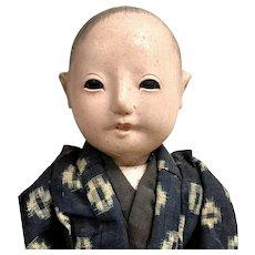 SQUEAKER Japanese Ningyo Doll with Wig and Teeth: Handmade Kimono , Documented