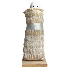 Japanese PEEK Gofun Doll: Mini Size Wrap Baby in Linen and Silk