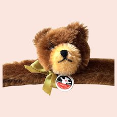 Swiss MUTZLI Child's Fuzzy Bear Clothing Hanger: Mid 1970's Retro Steiff-Like