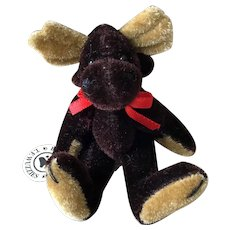BOYD'S Wuzzies Moose - Wee Size, Dark Brown Velveteen With All Jointed and Rotating Limbs