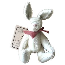 Boyds White Rabbit Jointed; Mohair Bear Collection #390086-1; Original Tag and Label