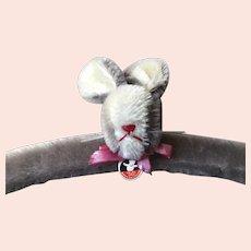 Swiss FELPA Child's Fuzzy Bunny Clothing Hanger: Mid 1970's Retro Steiff-Like