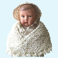 Celluloid Baby Boy Doll With Eagle German Mark 1920's: Hand Knit Shawl and Clothing