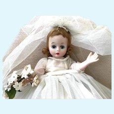 "Madam Alexander Blond Cissette Bride; 10"", 1958 Bent Knee: Accessories Including Wedding Ring"