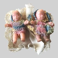 Doll House Mini 1-1/8 Inch- Twin Boy Girl Babies: Dressed in Crocheted Outfits