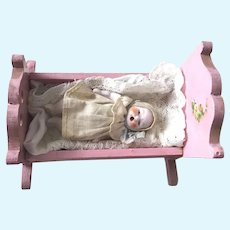 Pink Wood Mini DOLL & DOLL CRADLE: Exceptional Thumb Sucker OPEN MOUTH Bisque Doll with GLASS Eyes