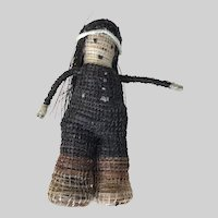 Mini American Indian TRADE DOLL; Handmade Straw and Rafia