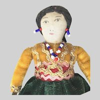 Trade 1950's AMERICAN INDIAN Woman; Handmade Cloth with Velvet and Bead Embellishment