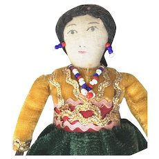 Trade 1950's AMERICAN INDIAN Woman; Handmade Clothing with Velvet and Bead Embellishment