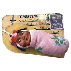 SKOOKUM Doll Trade Mailer with Actual 1930's, 3 Cent Stamped and Addressed Tag from Dennison, CO