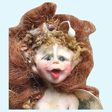 OOAK Forest FAIRY Seated on a Natural Fiber Chair; Signed by Artist with Red Hair, Wings and a Natural Fiber Head Piece