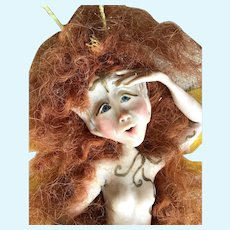 OOAK Standing Red Mohair Wigged FAIRY Queen; Blue Glass Eyes, Glossy Porcelain & Hand Designed, 1970's