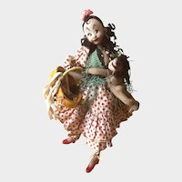 KLUMPE ROLDAN Spanish Felt Doll: Village Mother with Full Sewing Basket and Baby at her Chest