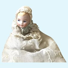 Antique Seated 2-1/2 Inch Mini Baby Dressed in Original Antique Baptismal Slip, Dress and Bonnet Fabric