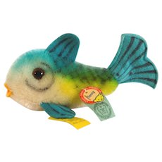 FLOSSY the STEIFF FISH; 1960 Button, Chest Tag and Yellow Flag #2310,00; Mohair Plush,Felt Mouth and Fins, Glass Eyes.