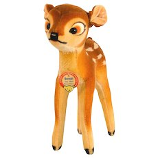 "STEIFF DISNEY BAMBI 7422,0; 6"" Tall Produced 1959 - Velvet/mohair Plush Germany"