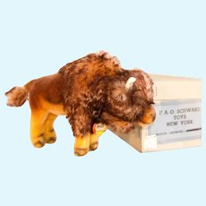 "STEIFF LARGE BISON 11"" Long with BOX: 1317,90 Produced in 1962; Fluff and Ragged Tail"