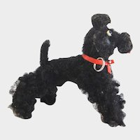 """STEIFF Black Poodle (2);  1958;  74164"""" Long x 2-1/2"""" Tall - Wool and Mohair, Jointed Legs"""