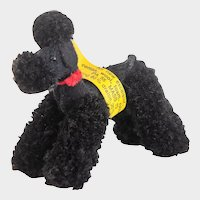 STEIFF Black Poodle  7416; Wool and Mohair Red Collar