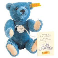 STEIFF BLUE TEDDY 1906 Replica; 1995 Historic Miniatures Series of Bears Gone By; Boxed Prototype for Harrods