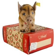 VERY Early 1959 With Box Wild Boar by STEIFF Plush; Mint Condition