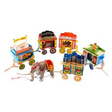 COMPLETE STEIFF GOLDEN AGE of the Circus: Train with Boxes, Papers, and ALL Animals in Mint Condition; CALLIOPE Functions Perfectly