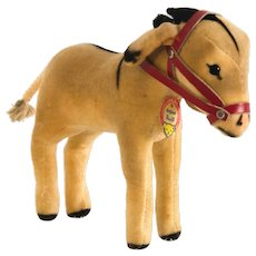 STEIFF VELVET DONKEY  1959;  Tightly Braided Tail With Original Red Leather Bridle Reins