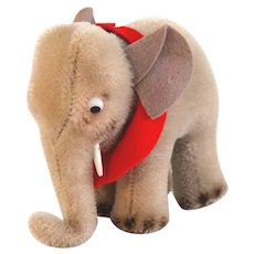 "STEIFF ELEPHANT 1958 4"" - 6310 Clean Bright Mohair, Airbrushed Feet, White Plastic Tusks, Red Felt Saddle, Ears"