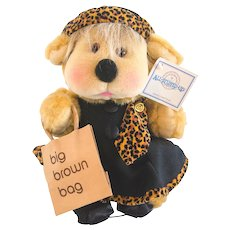 NOVICK BLOOMINGDALES BEAR Jointed with Big Brown Bag 1991; 12 Inches Tall, Leopard Print Dress