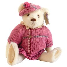 "GUND SUZIE BEAR Bialosky Very Large 17""; 1984 Dressed in Fuchsia Pink and Tagged"