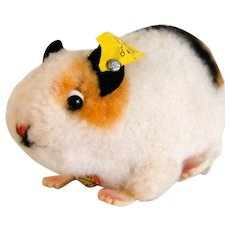 "STEIFF GERBAL SWINNY or Guinea Pig; 4-3/4"" Long, 1962: White Dralon Airbrushed Orange/Black; 2609,00"