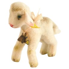 """6510,0EARLY 1954 Steiff LAMBY the Lamb; 5"""" Long x 4-1/2"""" Tall - Wool Plush with Faint Yellow Airbrushing, Felt Ears and Glass Eyes"""