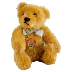 """STEIFF Original Teddy Bear; Jointed 5"""" Tall With Glass Eyes, Very Early 1950's, Excellent Condition & ALL ORIGINAL Including His Ribbon"""
