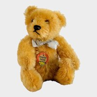 """STEIFF TEDDY ORIGINAL Teddy Bear; Jointed 5"""" , Glass Eyes, Very Early 1950's, Excellent Condition & ALL ORIGINAL Including His Ribbon"""
