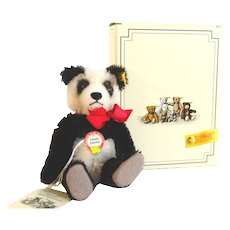 STEIFF PANDA MINIATURE Historic Miniature Series II; 5-1/2 Inches Tall and Boxed